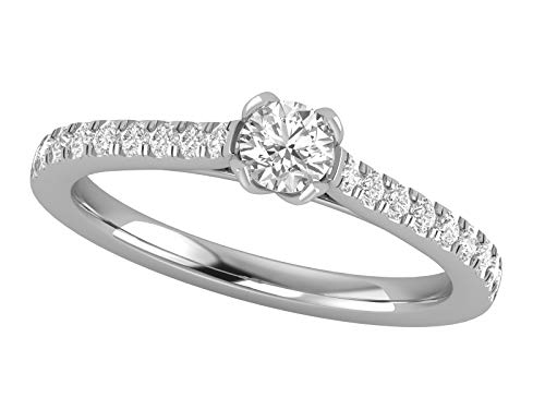 - 14K White Gold 5/8 Carat (H-I Color, SI2-I1 Clarity) Natural Diamond Cathedral Style Solitaire Engagement Ring with Tulip Shaped Prongs