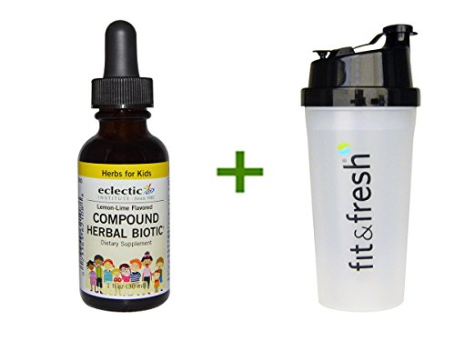 Eclectic Institute Herbs For Kids Compound Herbal Biotic Lemon-Lime Flavored 1 fl oz (30 ml) (3 PACK), Shaker Bottle assorted colors 20 oz