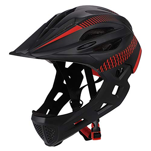 - ROWEQPP Children Bike Riding 16-Hole Breathable Helmet Detachable Full Face Chin Protection Balance Bicycle Safety Helmet with Rear Light Black red One Size