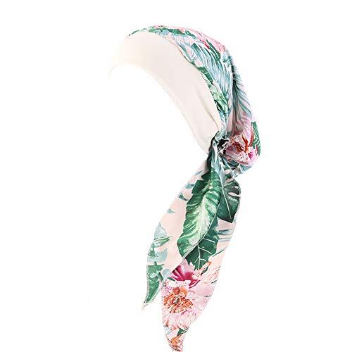 (Womens Chemo Caps Flower Prints Silky Turban Head Scarves Pre-Tied Headwear Satin Turban Bandana for Cancer Headwraps Green)