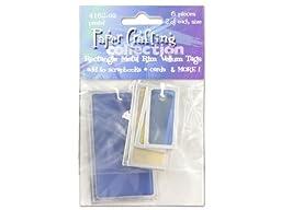 6 piece rectangle metal rim vellum tags pastel colors - Pack of 24
