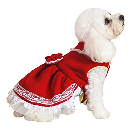 Christmas Dress Costume, Pet Puppy Dog Cute Bowknot Winter Warm Jacket Lace Tutu Skirt Small Teddy Dog Polar Fleece Pet Coat Cold Weather Sweater Clothes Outfit Apparel (XS, Red)