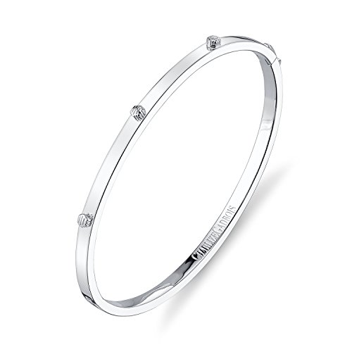 CHARLIZE GADBOIS 925 Sterling Silver Thin Hexagon Strie Bangle Bracelet, White Rhodium by Gadbois Jewelry