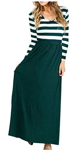 Jaycargogo D'été Maxi Taille Haute À Manches Longues Rayé Femmes Robe Noirâtre Vert