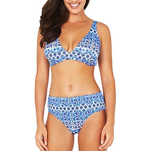 (UOKNICE Swimwear for Womens, Summer Beach Patchwork 2 Pieces Bandage Bathing Suit Beachwear Tankini Bikini can i Simple Reversible Style Basic Print UK Catalog mesh Covered Blue)