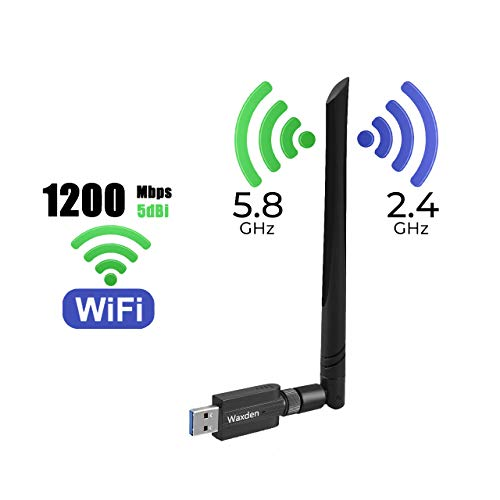 Waxden USB WiFi Adapter 1200Mbps USB 3.0 WiFi Dongle 802.11 ac USB Wireless Network Adapter with Dual Band 2.4GHz/5GHz 5dBi High Gain Antenna for Desktop Windows XP/Vista/7/8/10 Linux Mac