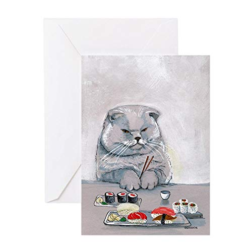 CafePress Sushi Cat The Grump Greeting Card (10-pack), Note Card with Blank Inside, Birthday Card Matte