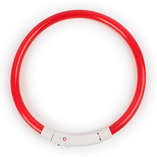 USB Charging Pet Dog Collar Rechargeable LED Tube Flashing Night Dog Collars Luminous Safety Puppy Cat Collar With Battery (Red-50cm)