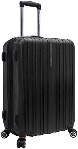 Traveler's Choice Tasmania 100% Pure Polycarbonate Expandable Spinner Luggage, Black, Checked-Medium 24-Inch