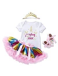 fairy Girl Tutu Dresses for Girls Baby Dance Party 4pcs T-Shirt,Rainbow Tutu Skirt,Headband,Shoes