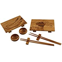 Totally Bamboo Wave Sushi Set – 8 Piece Sushi Kit complete with Sushi Plates, Bowls, Chopsticks & Rests, 100% Natural Bamboo Wood + Featured Wave Artwork.