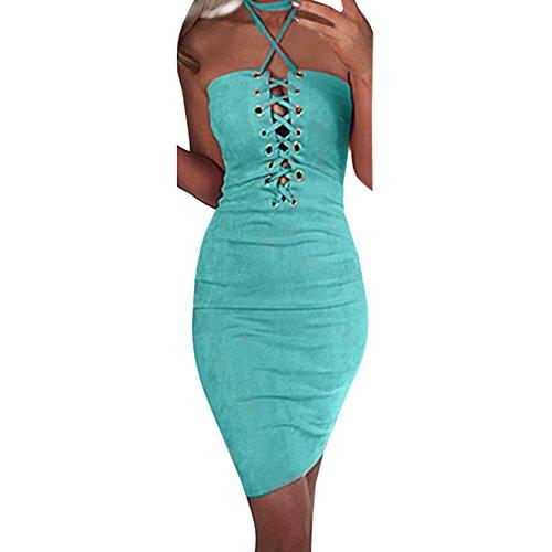 Dress, Han Shi Women Summer Sexy Strapless Solid Sleeveless Bandage Skirt (S, Blue)