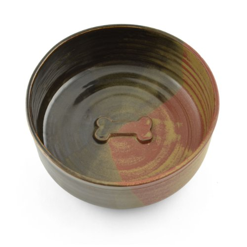 Holman Pottery Handmade Dog Bowl, Red Earth