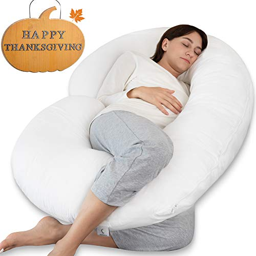 Marine Moon Pregnancy Pillow - Pregnancy Body Pillow and Maternity Pillow for Sleeping with 100% Cotton Cover (White) (Best Body Pillow 2019)