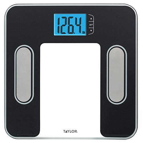 Taylor Precision Products Body Composition Scale Measuring Body Fat, Body Water, Muscle Mass and BMI, Black, 1 Pound
