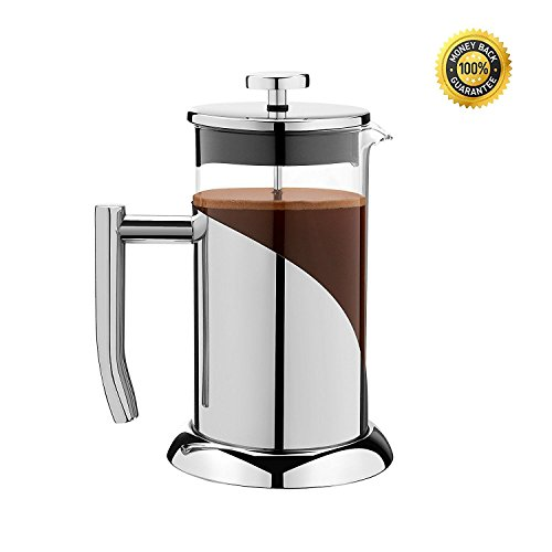 Newfangled Classy ANGELICA Stainless Steel & Glass French Press Coffeemaker & Tea Infuser, 34oz, 1000ml, 4.25 cup, 3Mug - Strong Design for every Home; Handy Scoop & How to Brew Guide included