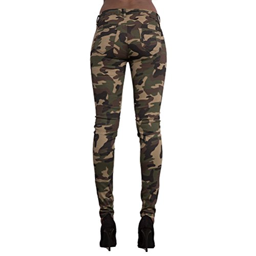 12 Women 16 Green Slimming 10 Style 8 Army Size Green Boyfriend Camouflage Army Hole Cool 14 Trousers Zhhlaixing Pants UK Knee EBaUqxSp