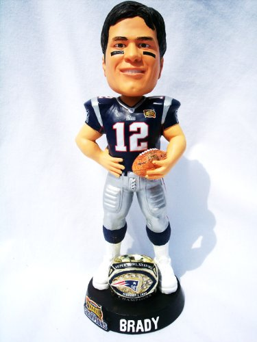 New England Patriots Rare 8inch NFL Super Bowl Tom Brady #12 Championship ring base bobblehead by Forever