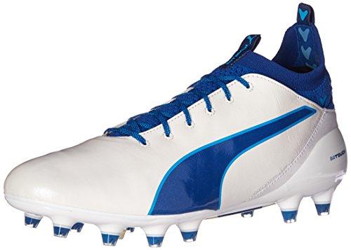 Scarpe da calcio Evotouch Pro FG da uomo, Puma White-True Blue-Blue Danube, 9 M US
