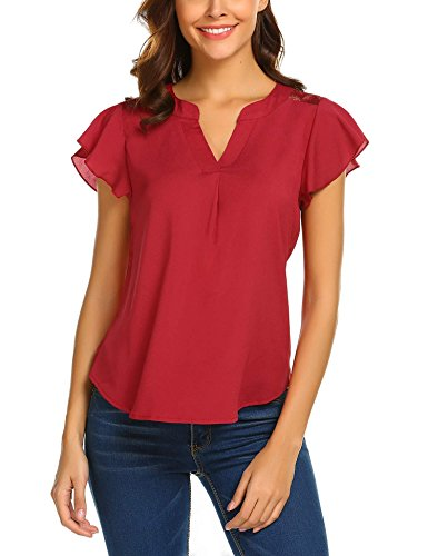 Yayado Womens Chic Floral Lace Tops Curved Hem Ruffle Sleeve Blouses Shirts Wine Red ()