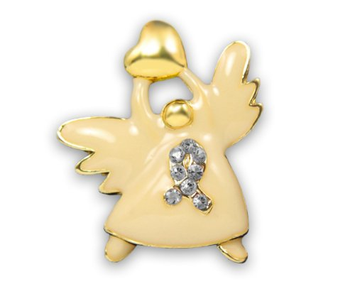 Fundraising For A Cause Gray Ribbon Awareness Angel Pins (Wholesale Pack 15 Pins)