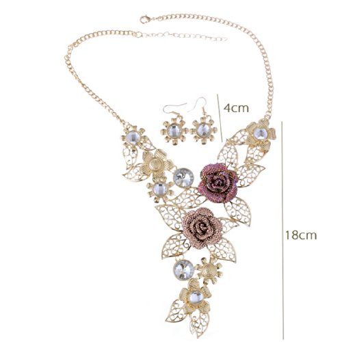 QIYUN.Z (TM) Handmade 3D Bling Crystal Rose Flower Leaf Statement Collar Necklace Earring Set