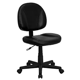 Flash Furniture Mid-Back Black Leather Ergonomic Task Chair