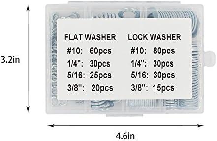 FAS INDUSTRY 290 Pcs Flat and Lock Washer Assortment,1//4 3//8 5//16#10 Hardware Gasket Assortment Kits