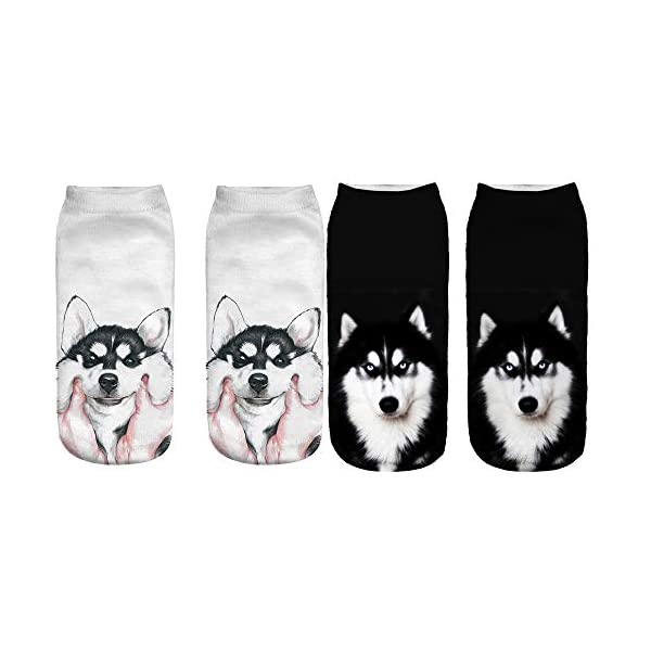 Angelteers Unisex's Funny 3D Husky Dog Ankle Socks Cute Low Cut Socks for Summer 2