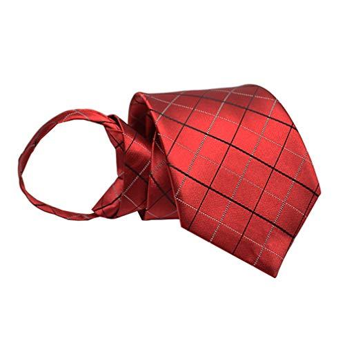 BESMODZ Men's Burgundy Stripe Argyle Zipper Ties Formal Pretied Neck Tie Vintage
