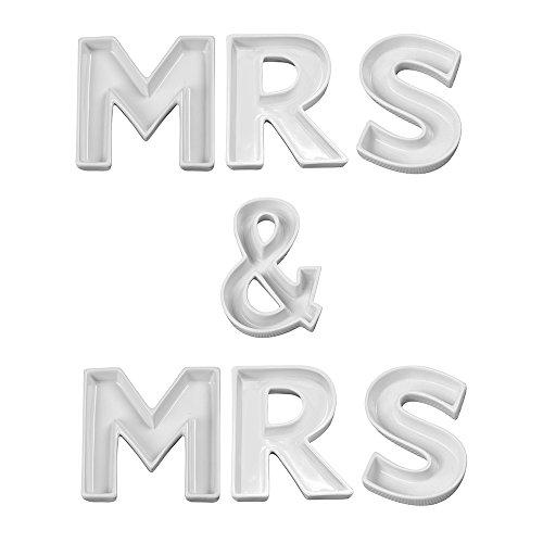 Ivy Lane Design X15026 Decorative Ceramic Dish Set, Mrs & Mrs by Ivy Lane Design
