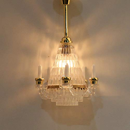 LeSharp Dollhouse Light, DIY Dollhouse Miniatures,12V 1:12 Dollhouse Miniature Chandelier Light Electric Mini Acrylic Ceiling Lamp ()