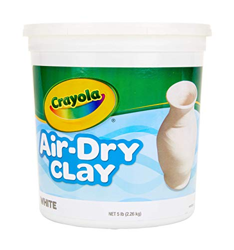 Crayola AirDry Clay White 5 Pound Resealable Bucket Natural Clay for Kids No Baking Dries Hard Easy to Paint A Smoother Simpler LessSticky Alternative to Traditional Ceramics