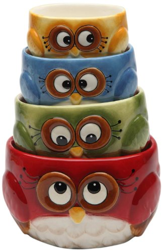 Cosmos gifts Measuring Cup Set Owl Design red green blue yellow 4 Pack (Angels Snowman Night Light)