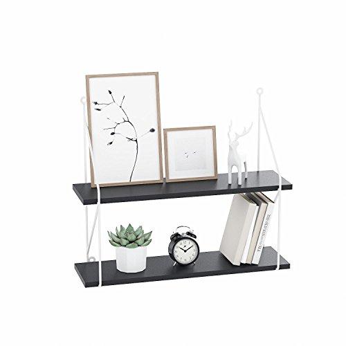 2 Tier Floating Wall Shelves, Wood Rustic Floating Shelves for Living Room Bedroom Kitchen Home - White/Black