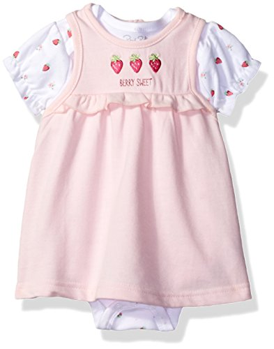Rene Rofe Baby Baby Girls' 2 Pc French Terry Jumper Set with Shortsleeve Bodysuit, Pink Strawberries, 0-3 Months