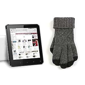 CL - Cinco dedos gruesos de lana de tela Guantes táctiles para iPhone y Samsung (color surtidos) , Gris