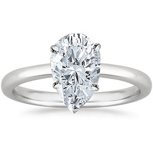 GIA Certified 18K White Gold Pear Cut Solitaire Diamond Engagement Ring (0.51 Carat E Color SI2 Clarity)