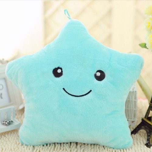 Decorative Pillows Colorful LED Flash Lucky Star Luminous Pillow Plush Stuffed Toys Best Gift for Girls Kids as a Birthday Gift or Festival Gift by DDStore