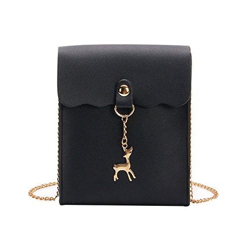 Pendant Women Mini Purse Saniswink Charm Cell Cross Body Phone Faux Deer Black Gift Leather Bag 1tgxnZ