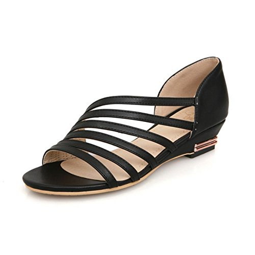 Black QXH Zapatos Pisos Mujer Cabeza de Boca Sandalias Cuero Redonda de Superficial de 7SrW7q6PA