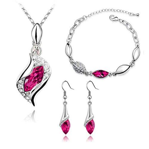 MAFMO Women Colorful Jewelry Set Fashion Crystal Necklace Bracelet Earrings(Deep Pink)