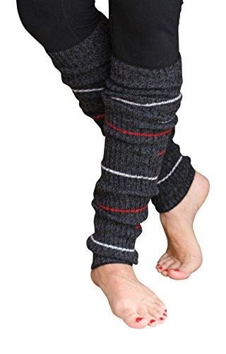 Lucky Love (TM) Striped Multicolor Reversible Knit Leg Warmers (Black Small Stripe) (Black Striped Leg Warmers)
