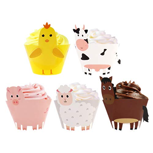 Farm Animal Cupcake Wrappers Toppers for Baby Shower Farmhouse Birthday Party Supplies Cake Decorations 25Pcs for $<!--$9.99-->
