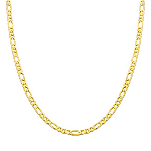 10K Yellow Gold 4.5mm Solid Figaro Chain Necklace (18 inches)