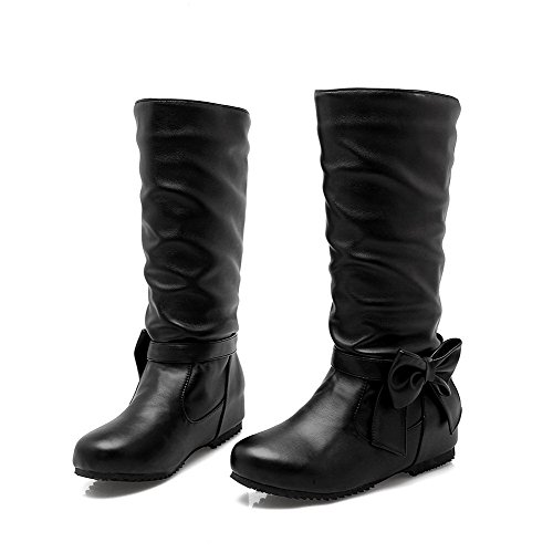 AgooLar On PU Low Boots Black Round Women's Toe Pull Solid Heels rCrantq