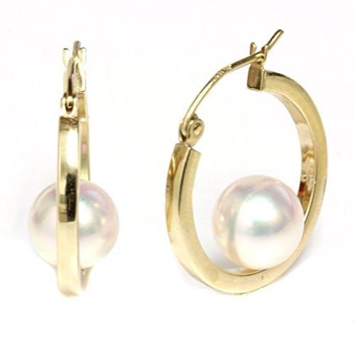 14k Yellow Gold Cultured Saltwater Akoya Pearl Dangle Hoop earrings - AAA and AAA Flawless (7.0-7.5mm AAA) by Seven Seas Pearls