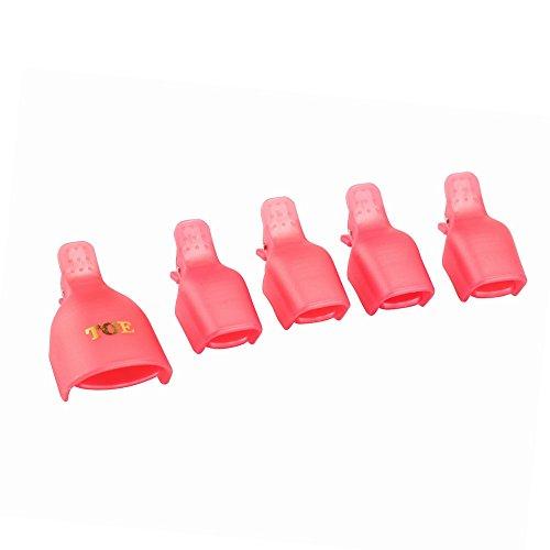 Teenitor 30 Pieces 6 Color Reusable Toenail Nail Art Soak Off Cap Clip UV Gel Polish Remover Tool