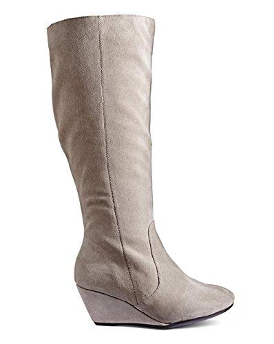 J D Williams Womens Legroom Wedge Boot Grey, 7