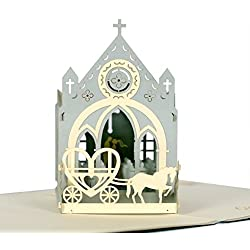 CUTEPOPUP 3D CHURCH Wedding Popup Cards, Charmings Details, Impressive Handmade Gifts – Be it for your Loved ones, Wedding Anniversaries, Valentile Day – With Cards Holder.